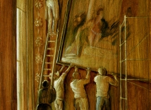 Hanging the Sebastiano at Kingston Lacy, 1987